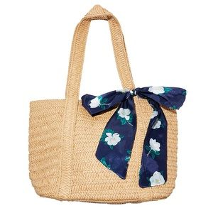 NWT Draper James Straw Bag with Floral Scarf